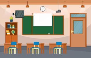 aula di scuola elementare con scrivanie e illustrazione lavagna vettore