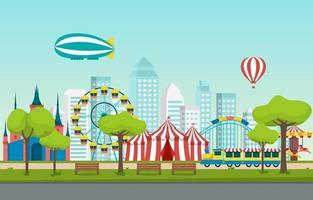 circo e parco divertimenti con illustrazione della ruota panoramica vettore