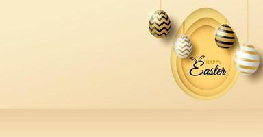podio di esposizione del prodotto di tema di buona pasqua. uovo di pasqua dorato su sfondo oro chiaro. vettore