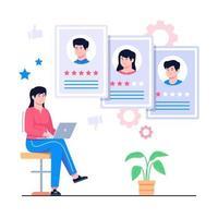 reclutare agente analizzando il concetto di candidato illustrazione vettore