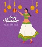 felice poster di celebrazione navratri con donna che balla vettore