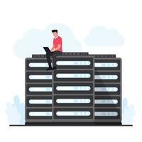 l'uomo si siede e aggiorna il server di hosting cloud vettore