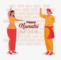 felice poster di celebrazione navratri con ballo di coppia vettore
