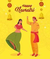 felice poster di celebrazione navratri con coppia danzante vettore