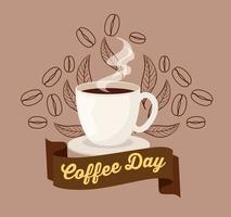 poster della giornata internazionale del caffè con tazza in ceramica