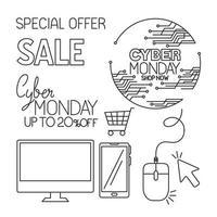 Cyber lunedì icon set disegno vettoriale