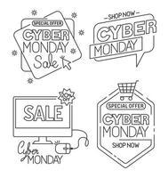 Cyber lunedì imposta icone disegno vettoriale