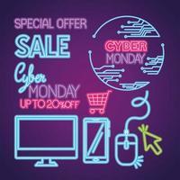 Cyber lunedì neon icon set disegno vettoriale