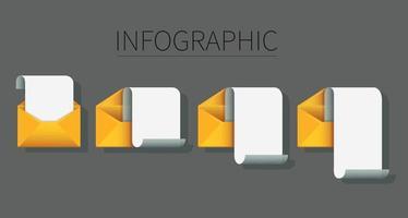 set di buste con infografica di carta nota. concetto di messaggio di posta. illustrazione vettoriale