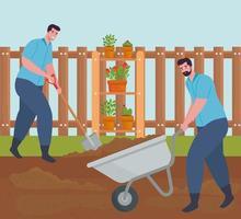 uomini che fanno giardinaggio all'aperto vettore