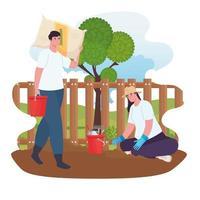 coppia giardinaggio all'aperto vettore