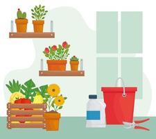 graziose piante in vaso con secchio, bottiglia e disegno vettoriale pinze