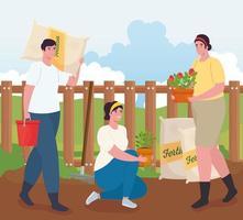 persone che fanno giardinaggio all'aperto con sacchetti di fertilizzante, piante e disegno vettoriale secchio