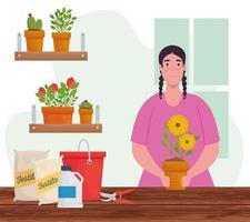 donna con fiori in vaso vettore