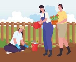 donne che fanno giardinaggio all'aperto vettore