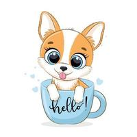 illustrazione animale con simpatico cagnolino in tazza. vettore