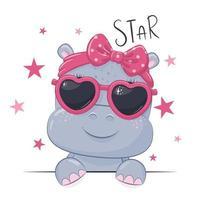 illustrazione animale con ragazza carina ippopotamo con gli occhiali. vettore
