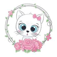 simpatico baby cat estivo con ghirlanda di fiori. illustrazione vettoriale