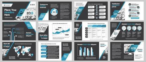presentazione della società di affari sfondo città con modello di infographics.