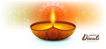 felice diwali elegante sfondo diya