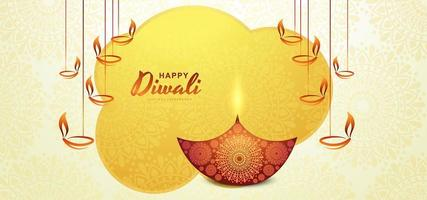 illustrazione di bruciare diya in vacanza felice diwali