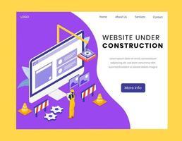 sito web in costruzione pagina di destinazione isometrica vettore