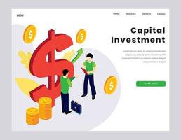 concetto di investimento di capitale per la pagina di destinazione vettore