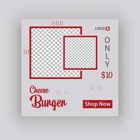 modello di post sui social media di hamburger di formaggio