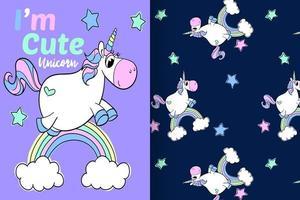 unicorno carino disegnato a mano con set di pattern