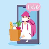 concetto di consegna sicura durante il coronavirus tramite smartphone