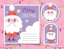 simpatici tag natalizi con Babbo Natale felice