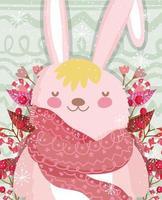 simpatico coniglietto invernale con sciarpa, bacche e fogliame vettore