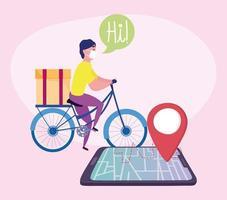 concetto di consegna sicura durante il coronavirus con corriere in bicicletta