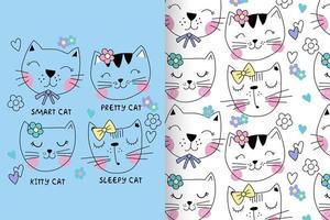 gattino carino disegnato a mano con set di pattern