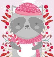 simpatico raccon invernale con sciarpa, bacche e fogliame