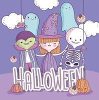 simpatico poster di halloween con piccoli personaggi