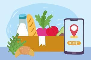 concetto di consegna sicura durante il coronavirus con generi alimentari