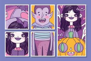 simpatico poster di halloween con personaggi spettrali