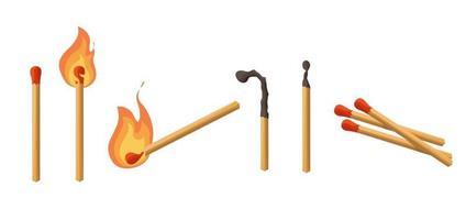 fiammiferi impostati. fiammifero che brucia con il fuoco, abbina carbone. luci. illustrazione vettoriale stile cartoon isolati su sfondo bianco.