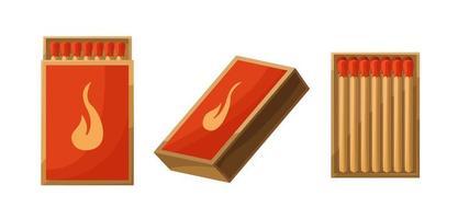 set di scatole di fiammiferi. aperti e chiusi, pieni di fiammiferi. illustrazione vettoriale stile cartoon isolati su sfondo bianco.