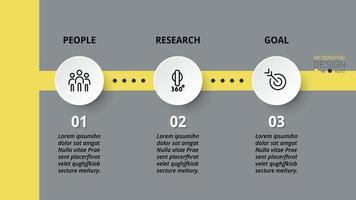 Presentazione in 3 fasi e pianificazione del lavoro aziendale con formato circolare.