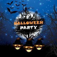 poster design festa di Halloween con zucche