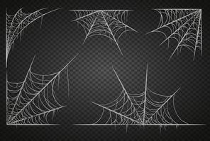 set di ragnatele. ragnatela per halloween, decorazioni spettrali, spaventose, horror vettore