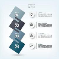 4 passaggi per spiegare il lavoro e riportare i risultati e presentare varie informazioni. vettore