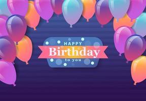 buon compleanno sfondo celebrazione design per biglietto di auguri, poster o striscione con palloncino, coriandoli e gradiente.