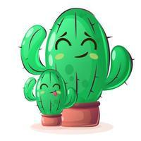 piante di cactus con facce felici in stile cartone animato su sfondo isolato