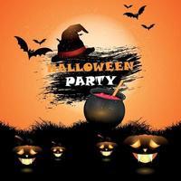 felice halloween con zucche e pipistrelli
