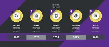 Infografica in 5 fasi. può essere utilizzato per pianificare e riportare i risultati in formato grafico. affari, azienda, marketing, istruzione, progettazione infografica.