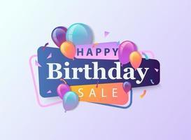 buon compleanno vendita celebrazione design per biglietto di auguri, poster o banner con palloncino, coriandoli e gradiente.