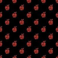 Fondo rosso senza cuciture del modello della mela di scintillio